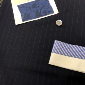ブルー:超涼しい&驚異のシワ回復力の天然素材スーツ