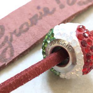 ルカ散歩サポーターブレスレット7000円 イタリア色スワロフスキー付き