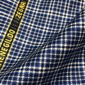 ゼニアジャケット:フレッシュな青ハウンズツース調チェック